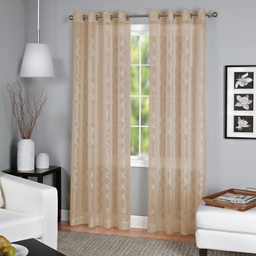 """Elrene Home Fashions Latique Sheer Curtain 52"""" x 84"""" Taupe"""