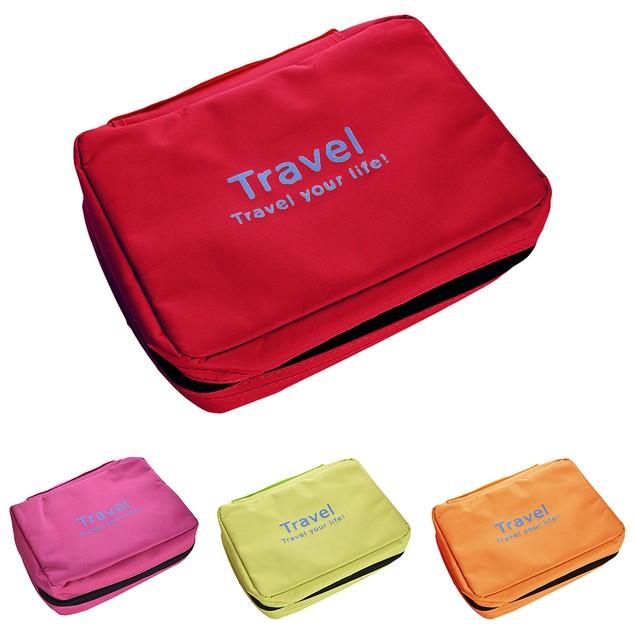 Folding Travel Makeup Cosmetic Zipper Wash Organizer Storage Bag