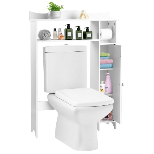 Wood Over the Toilet Storage Cabinet Bathroom Space Saver w/Paper Holder &