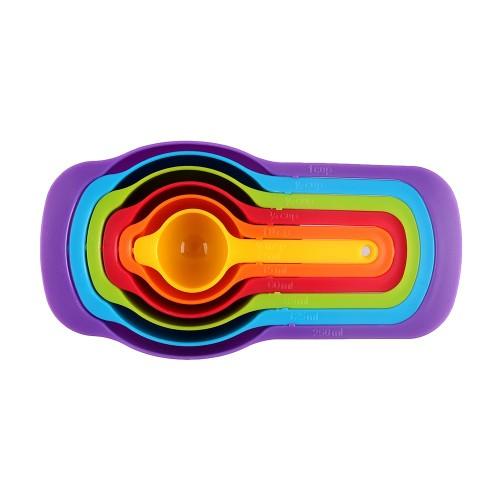 6-Piece Rainbow Plastic Measuring Cup & Spoon Set (2-Pack)