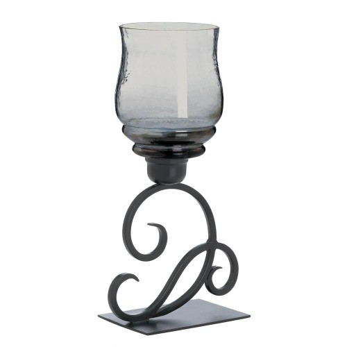 Gallery of Light Smoked Glass Cursive Candle Stand