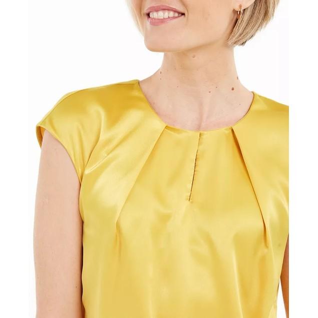 Kasper Women's Keyhole Charmeuse Sleeveless Blouse Yellow Size Extra Large