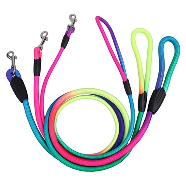 Rainbow Weave Nylon Belt Pet Dog Traction Rope Round Training Leashes