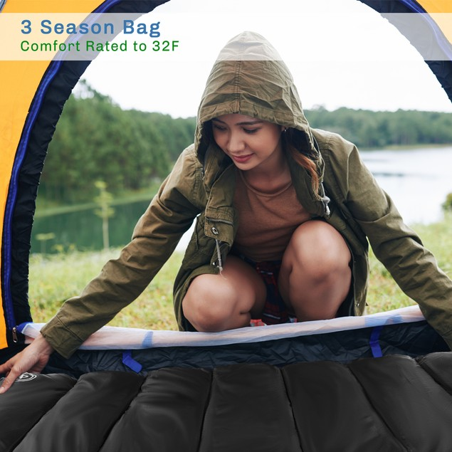 Sleeping Bag  32F Rated XL 3 Season Envelope Style with Hood