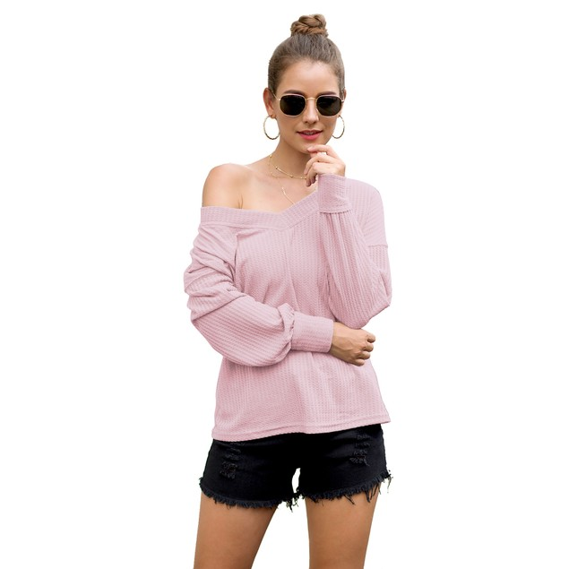Lilly Posh Long Sleeve Waffle Knit Top with Cuffs