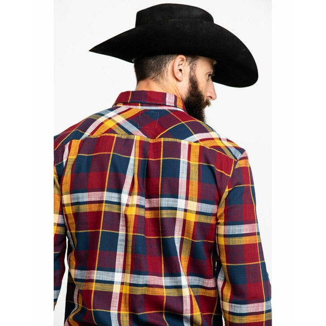 Levi's Bellore Madras Plaid Long Sleeve Western Flannel Red Large