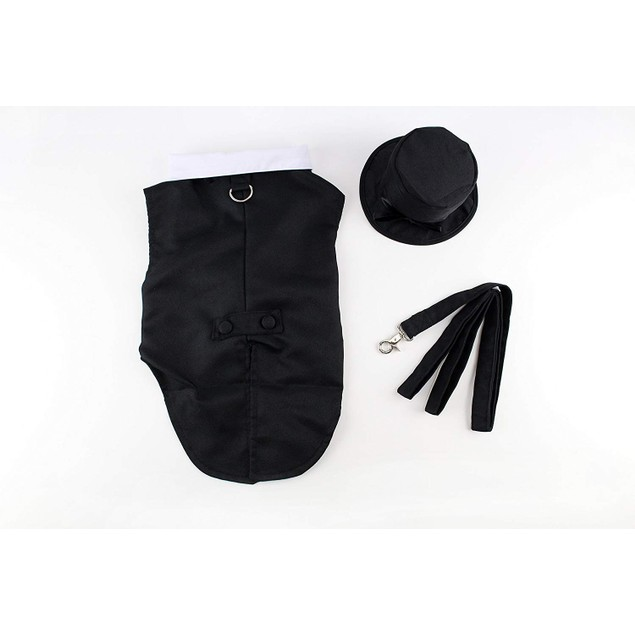 Midlee Dog Tuxedo Wedding Suit- Black Top Hat & Leash by (Large)