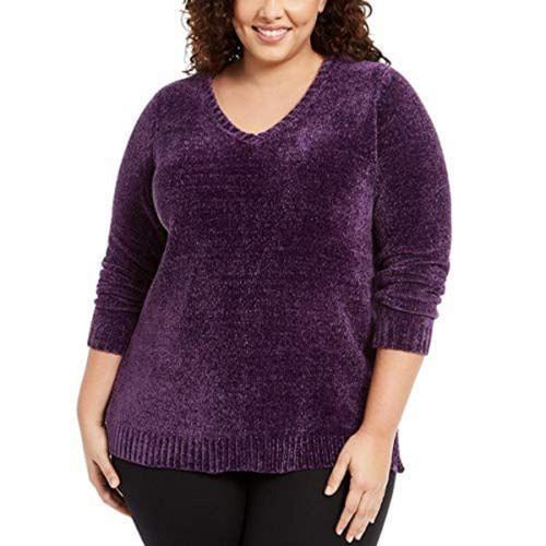 Karen Scott Women's Plus Size V-Neck Chenille Sweater Med Purple Size 2X