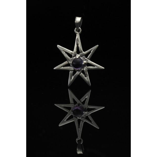 Sterling Silver Septagram Faery Star Pendant W/ Pendants