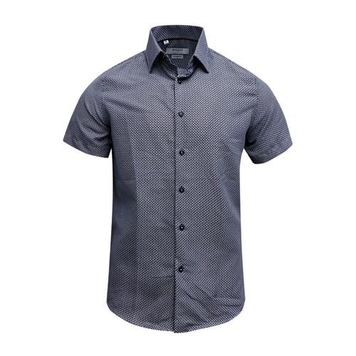 Monza Modern Fit Short Sleeve Dark Blue Herringbone Dress Shirt