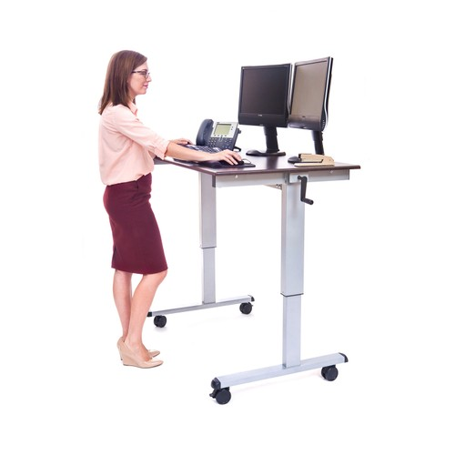"48"" High Speed Crank Adjustable Desk - Silver/Dark Walnut"