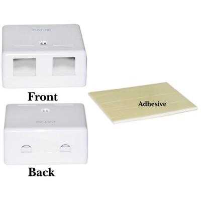 Blank Surface Mount Box for Keystones, 2 Hole, White