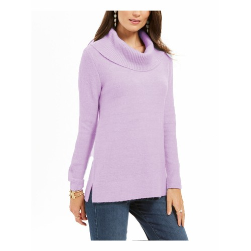 Style & Co Women's Lurex Cowl-Neck Sweater Lilac Size Extra Large