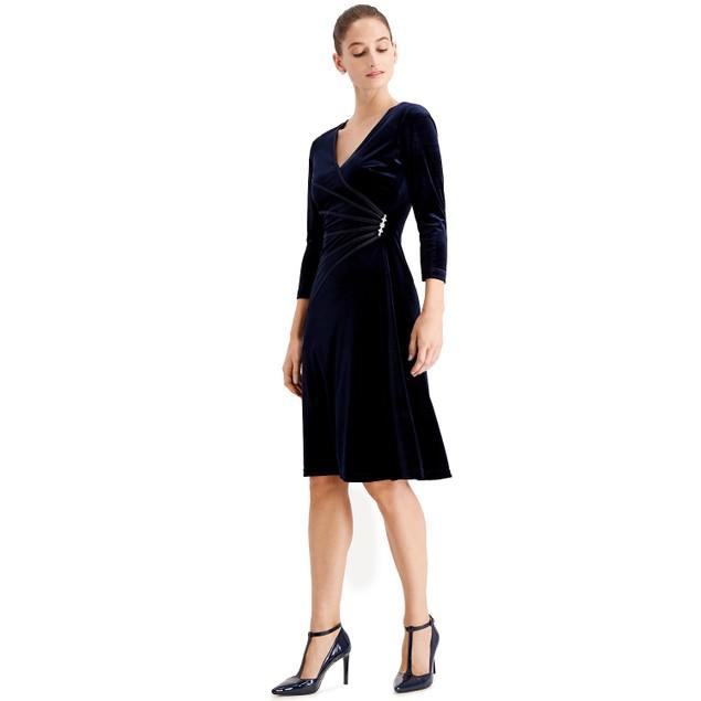 Connected Women's Velvet Rhinestone Brooch Dress Navy Size 6