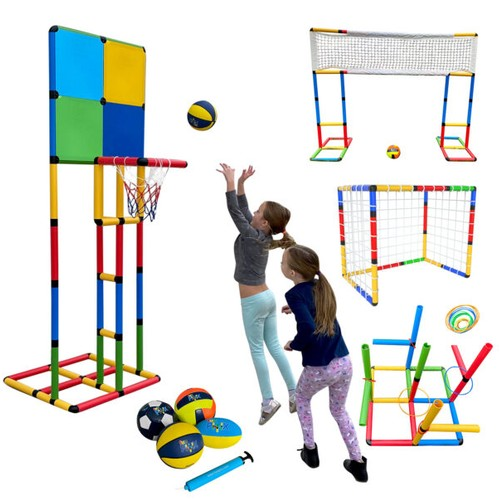 Funphix Build 'n' Score Sports Set – Kids Sport Set Building Toy for Indoor Outdoor Play of Soccer, Basketball, Volleyball, Rugby & Ring Toss