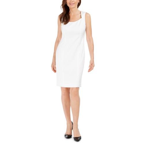 Kasper Tonal-Print Women's Sheath Dress White Size 18