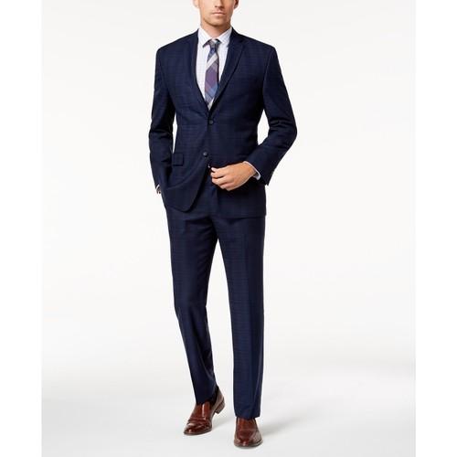 Marc New York Men's  Modern-Fit Stretch Navy Plaid Suit Size 38 Short 31x30