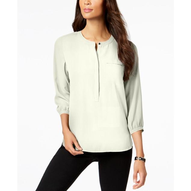 JM Collection Women's Pleated-Back Blouse White Size Medium