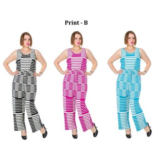 Women's Summer Print Long Length Sleeveless Jumpsuit