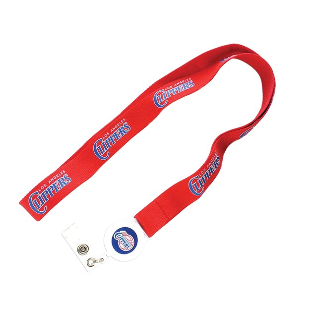 Cleanlapsports La Clippers Badge Reel Lanyard Id Ticket Clip Holder