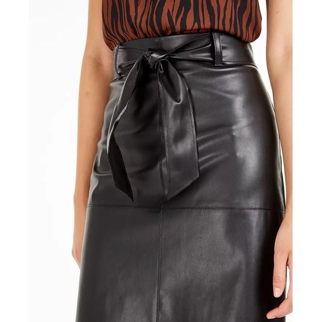 Bar III Women's Faux-Leather Skirt Black Size 8