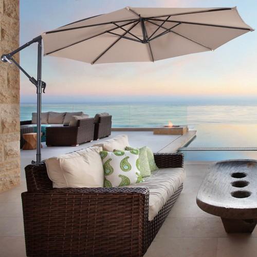 Costway Outdoor Patio 10' Hanging Umbrella Sun Shade W/t Cross Base Beige