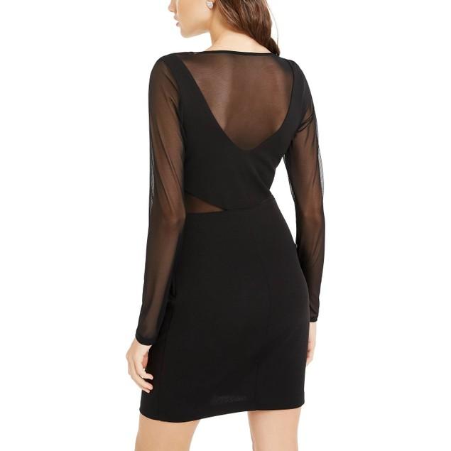 Teeze Me Juniors' Scuba Mesh Dress Black Size 11