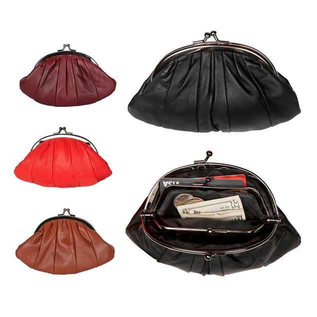 Luscious Leather Double-frame Clutch Coin Purse