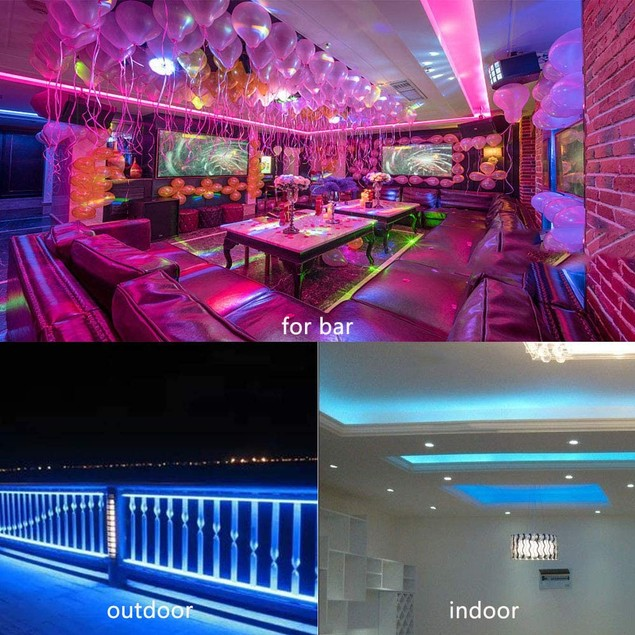 LED Strip Lights 32.8 feet Flexible RGB Strip Lights with 44 Keys IR Remote for Ceiling Bar Counter Cabinet Lighting Decoration
