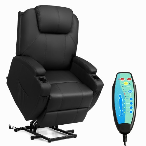Costway Electric Lift Power Recliner Chair Heated Massage Sofa Lounge w/ Re
