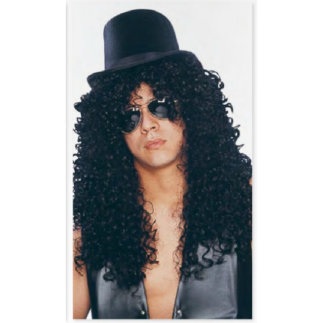 Curly Rocker Deluxe Wig Slash Guns N Roses And Guitar Costume Adult Black