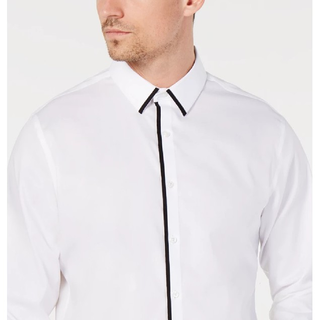 INC International Concepts Men's Victor Shirt White Size Large