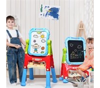 Costway Height Adjustable Kids Art Easel Magnetic Double Sided Board with Acc Was: $119.99 Now: $54.99.