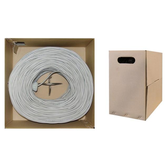 Plenum Cat6 Bulk Cable, Gray, Solid, UTP  CMP, 23 AWG, Pullbox, 1000 foot