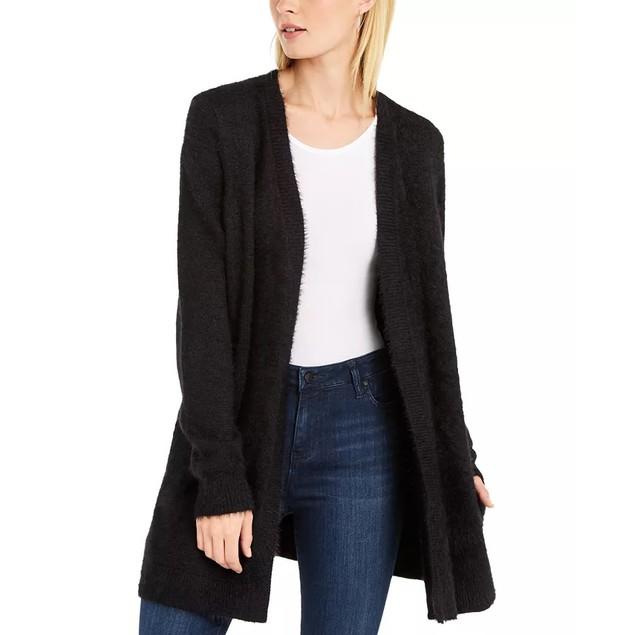 INC International Concepts Women's Eyelash Cardigan Black Size X-Small