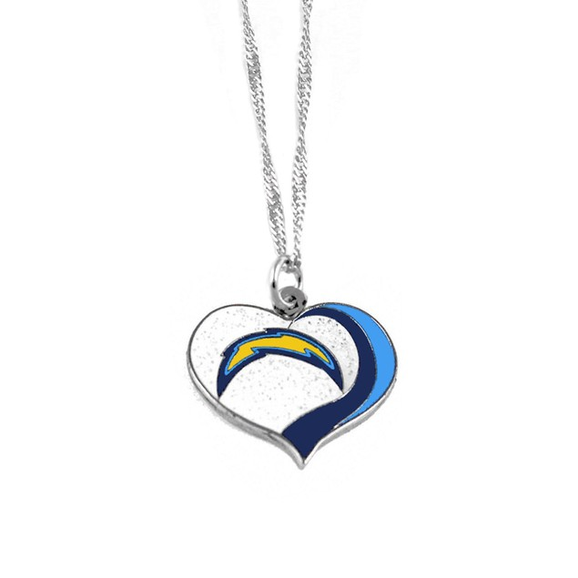 LA Los Angeles Chargers NFL Glitter Heart Necklace Charm Gift