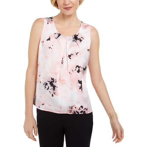 Kasper Women's Floral-Print Pleated Sleeveless Top Pink Size Large