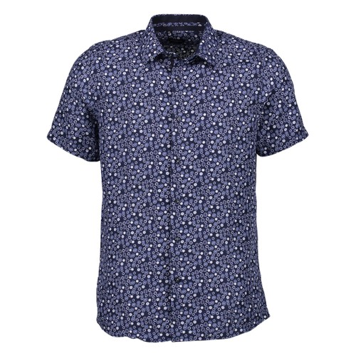 Rosso Milano Modern Fit Short Sleeve Navy Birdseye Dress Shirt