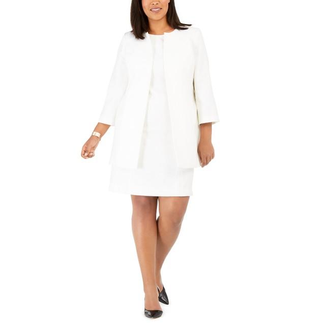 Le Suit Women's Plus Textured Dress Suit Ivory Size 18W