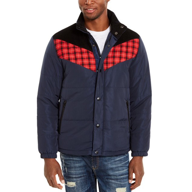 American Rag Men's Brady Colorblocked Puffer Jacket  Blue Size XX-Large