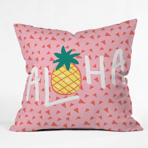 "Deny Designs Zoe Wodarz Aloha Darling Indoor Throw Pillow, 16 X 16"", Pink"