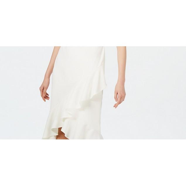 Calvin Klein Women's Sleeveless Ruffled Wrap-Hem Dress White Size 4