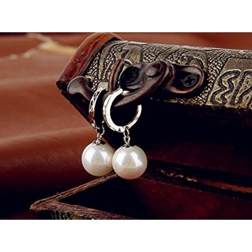 Silver Diamond Cut Pearl Drop Earrings