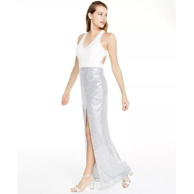 City Studios Women's Juniors' Cross-Back Sequined Gown Beige Size 5