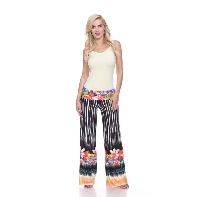 Tropicana Print Palazzo Pants - Black White Flower