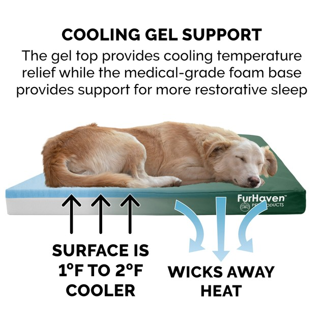 FurHaven Deluxe Cooling Gel Oxford Indoor/Outdoor Pet Bed for Dogs & Cats