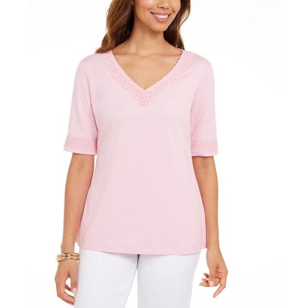 Karen Scott Women's Cotton Crochet-Trim Top Pink Size S
