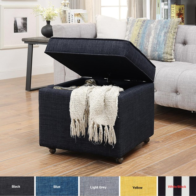 Linen Cube Ottoman-Hidden Storage Castered Legs Square Inspired Home