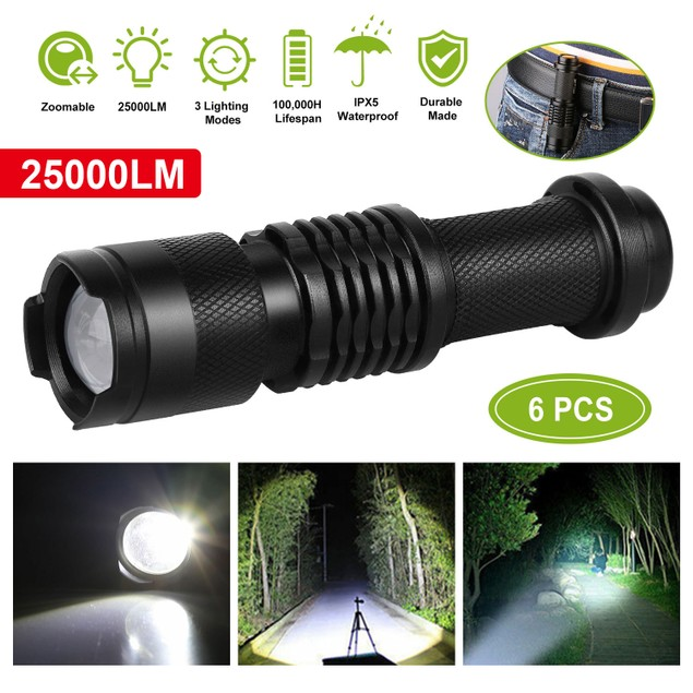 6PCS 25000LM Tactical LED Flashlight