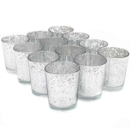 MandW Set Of 12 Speckled Tea Light Holders Silver